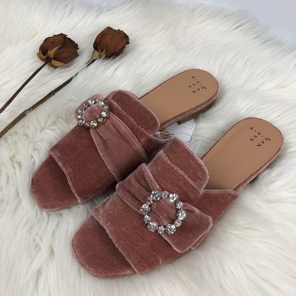 f02e5a1a96a6 Dina Velvet Embellished Slide Sandals - A New Day